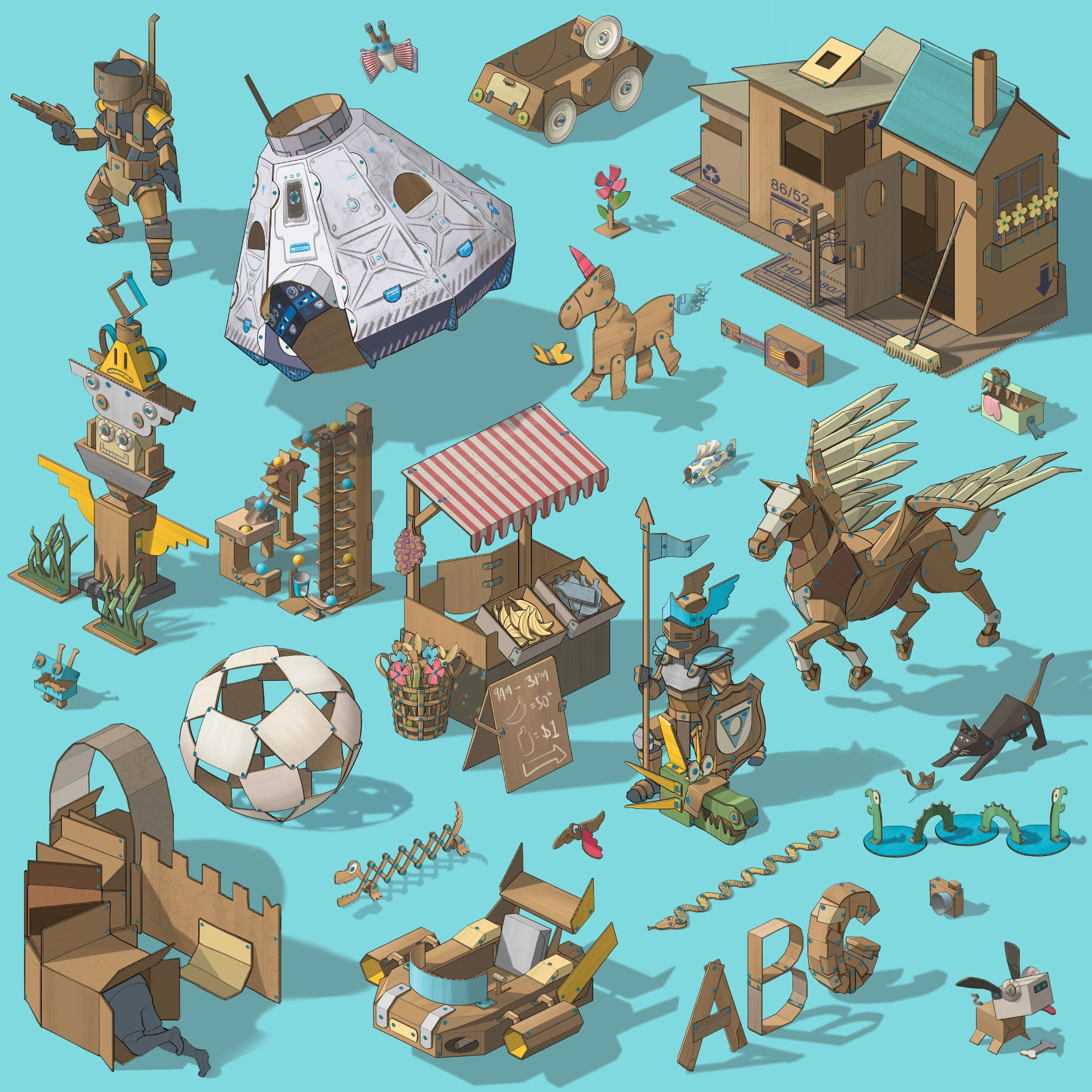 Illustrated world of Makedo cardboard creations - Discover Kit