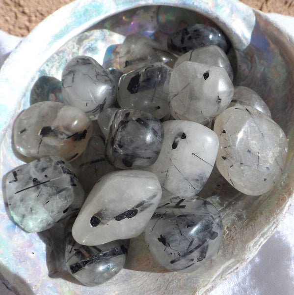 Tourmalated Quartz Tumbled Stones
