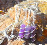 Amethyst Coil Wrapped Point Necklace
