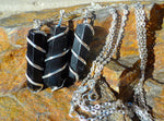 Black Obsidian Coil Wrapped Point Necklace