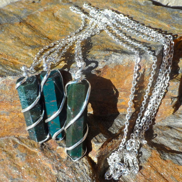Bloodstone Coil Wrapped Point Necklace