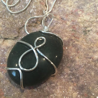 Bloodstone Wire Wrapped Oval Necklace