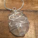 Clear Quartz Wire Wrapped Oval Necklace