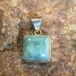 Square Larimar and Sterling Silver Pendant