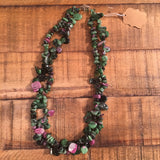 Ruby in Zoisite Double Strand Necklace - 18""