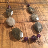 Labradorite with Amethyst Necklace - 30""