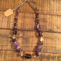 Amethyst with Smokey Quartz Necklace - 18""