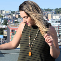 Orange Agate Pendant Necklace - 36""