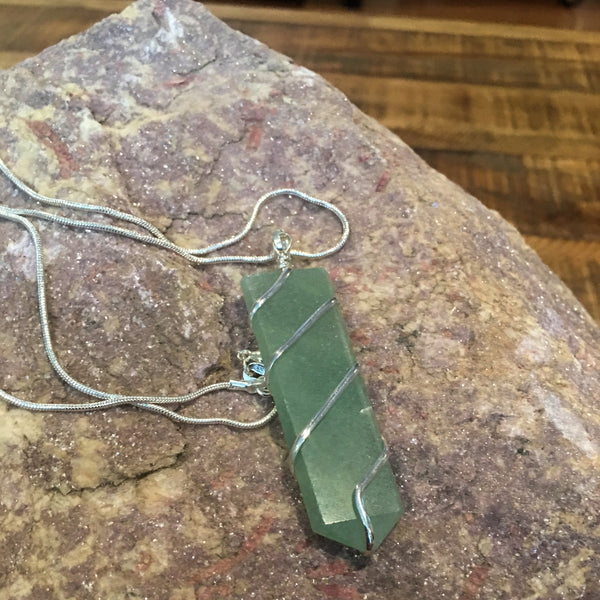 Green Aventurine Wire Wrapped Flat Point Necklace