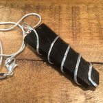 Black Obsidian Wire Wrapped Flat Point Necklace