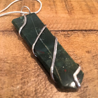 Bloodstone Wire Wrapped Flat Point Necklace