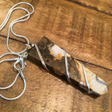 Zebra Jasper Wire Wrapped Flat Point Necklace