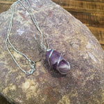 Large Stone Wire Wrapped Pendant Necklace