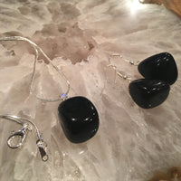 Black Obsidian Tumbled Stone Necklace