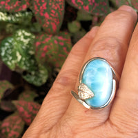 Larimar with Sterling Leaf Ring