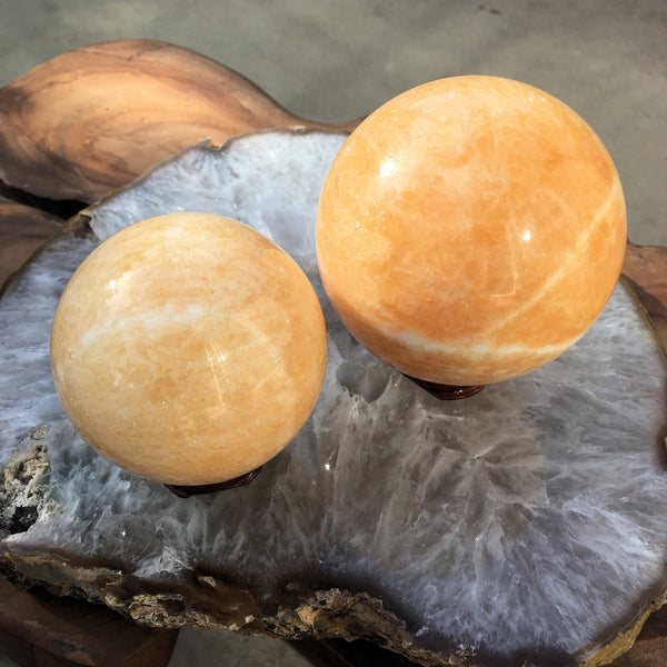 Orange Calcite Sphere (65mm - 70mm)