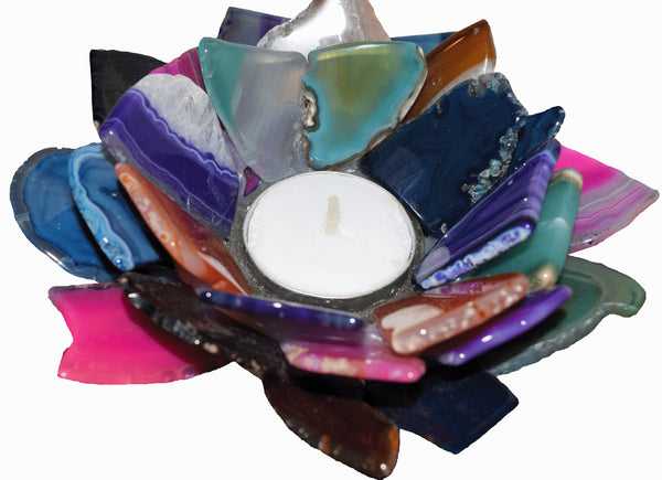 "4"" Agate Candle Holder"