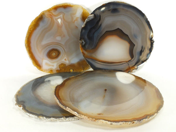 "4"" Natural Color Agate Coasters (Set of 4)"