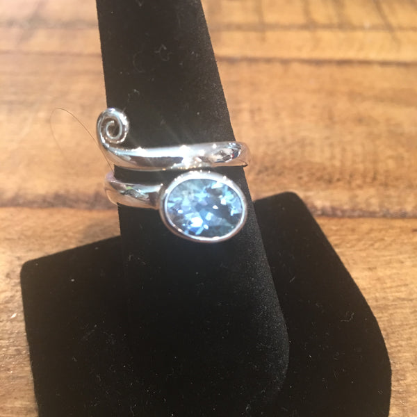 Blue Topaz Adjustable Ring