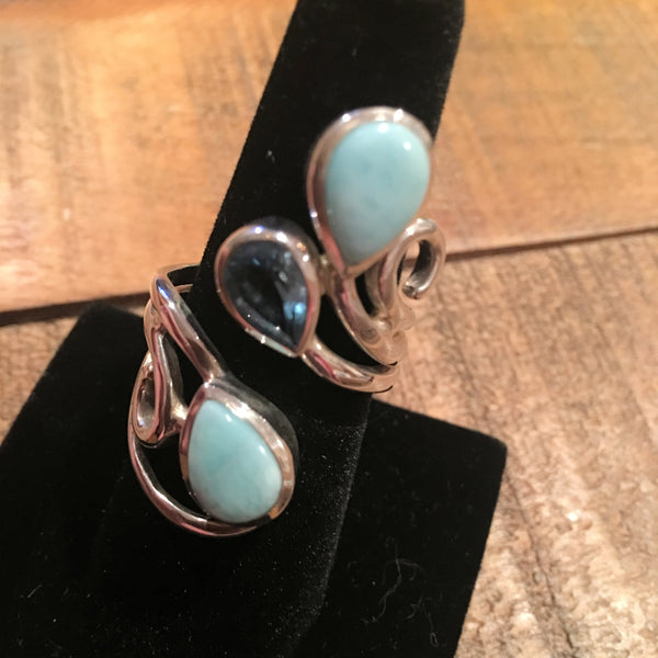 Larimar and Blue Topaz Adjustable Ring