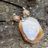 Wire Wrapped Agate Druse Necklace
