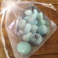 Amazonite Tumbled Stone in bag with description card