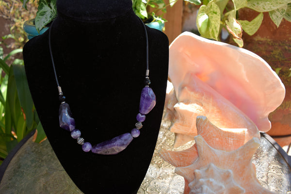 Amethyst Polished 3 Stone Necklace