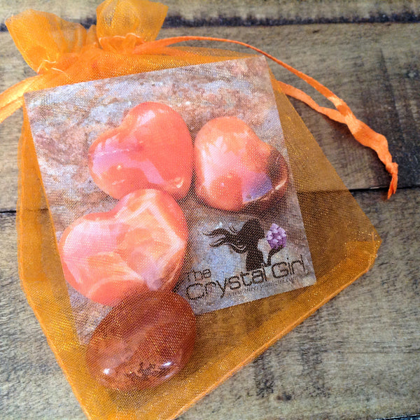 Carnelian Stone in Bag with Description Card