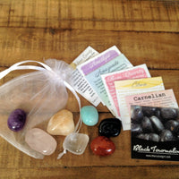 7 Chakra Stone Set in Organza Bag with Description Cards