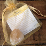 Citrine Tumbled Stone in bag with description card