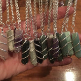 Green Aventurine Coil Wrapped Point Necklace