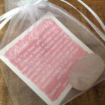 Rose Quartz Tumbled Stone in bag with description card