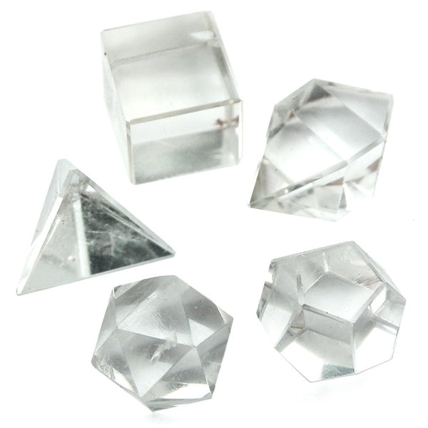 5 Piece Clear Quartz Sacred Geometry Set