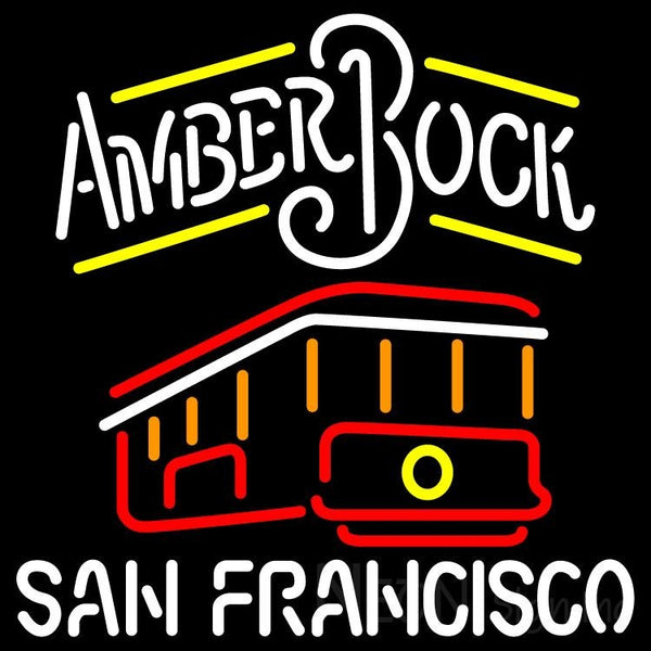 Amber Bock San Francisco Cable Car Neon Beer Sign 24x24