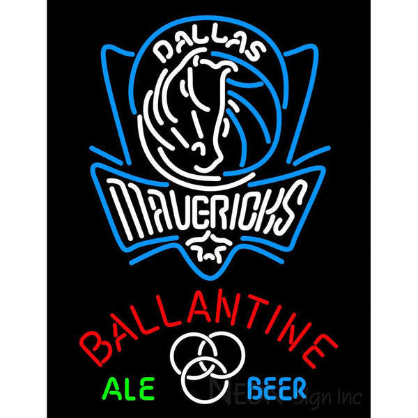 Ballantine Dallas Mavericks NBA Neon Beer Sign