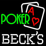 Becks Green Poker Neon Sign 16x16
