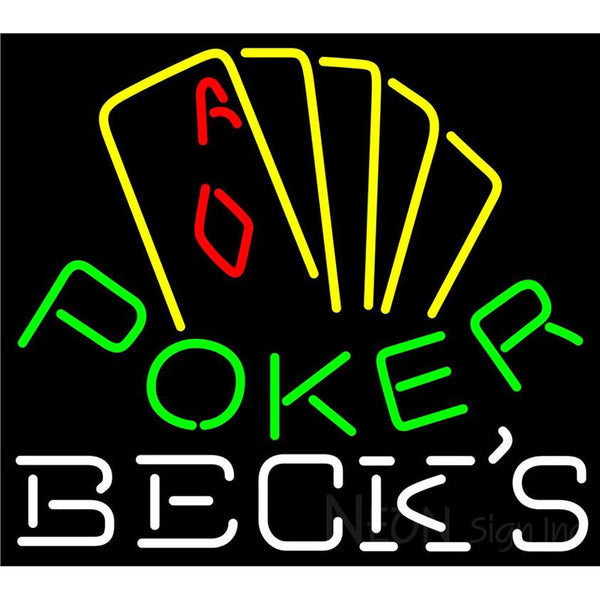 Becks Poker Yellow Neon Sign