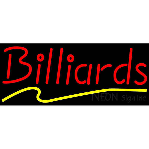 Billiards Red Yellow Neon Sign