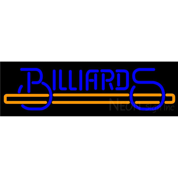 Billiards Text With Stick Pool Neon Beer Sign