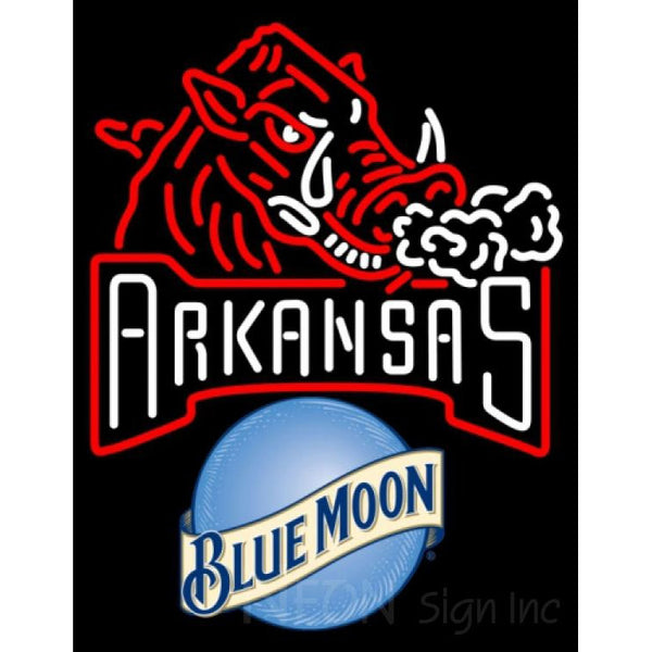 Blue Moon Arkansas Razorbacks UNIVERSITY Neon Sign 4 0003