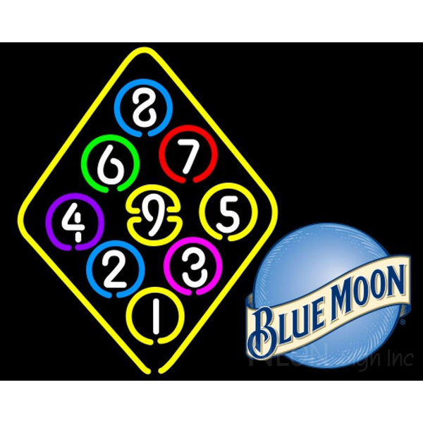 Blue Moon Ball Billiard Rack Pool Neon Beer Sign 8 0002