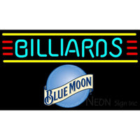 Blue Moon Billiards Text Borders Pool Neon Beer Sign 8 0006
