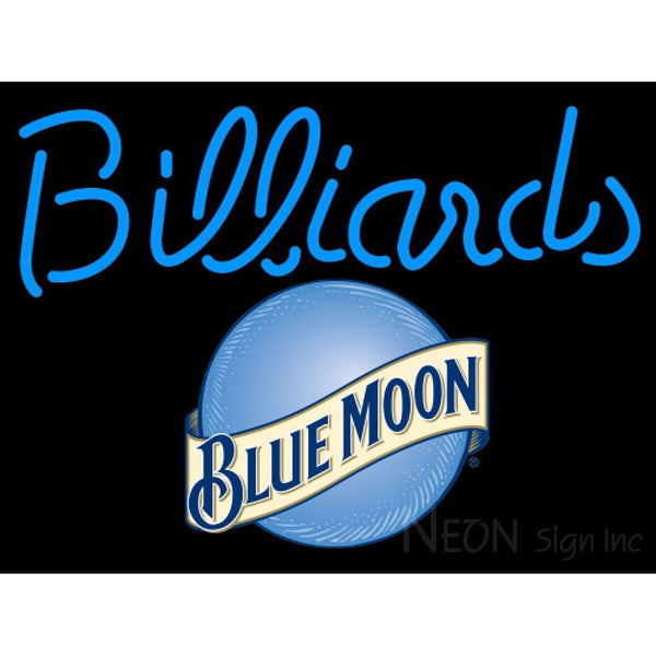 Blue Moon Billiards Text Pool Neon Beer Sign 8 0007