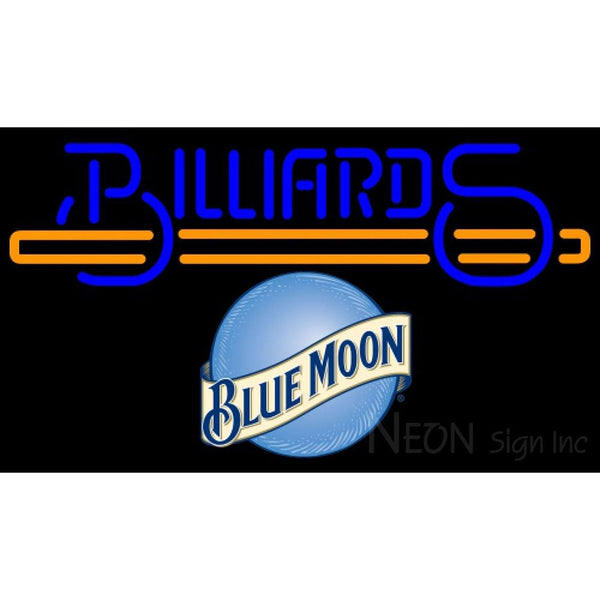 Blue Moon Billiards Text With Stick Pool Neon Beer Sign Giant 8 0008
