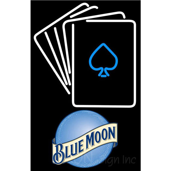 Blue Moon Cards Neon Sign