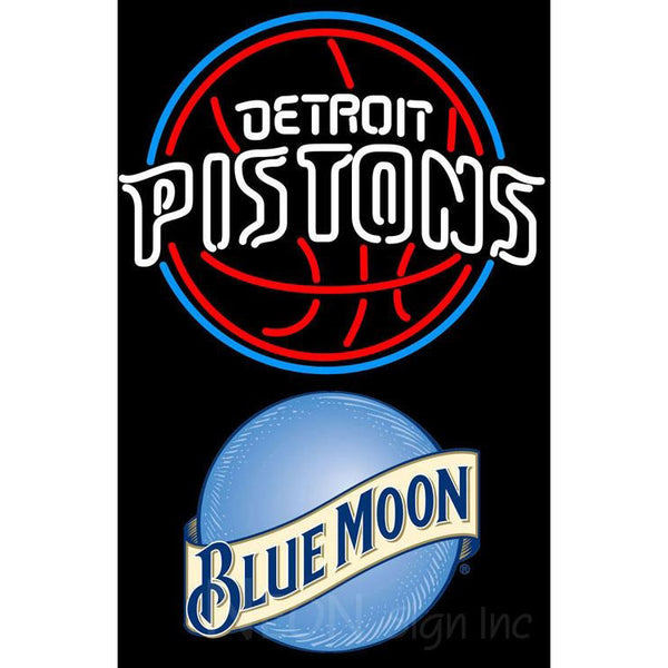 Blue Moon Detroit Pistons NBA Neon Sign