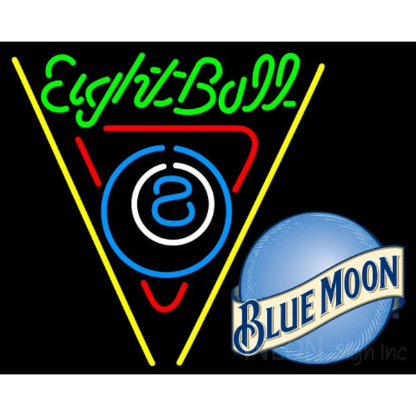 Blue Moon Eight Ball Billiards Pool Neon Beer Sign 8 0009