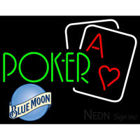 Blue Moon Green Poker Neon Sign 7 0001