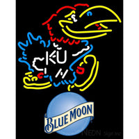 Blue Moon Kansas Jayhawks Logo UNIVERSITY Neon Sign 4 0009