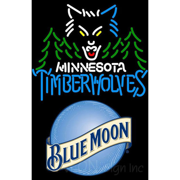 Blue Moon Minnesota Timber Wolves NBA Neon Sign